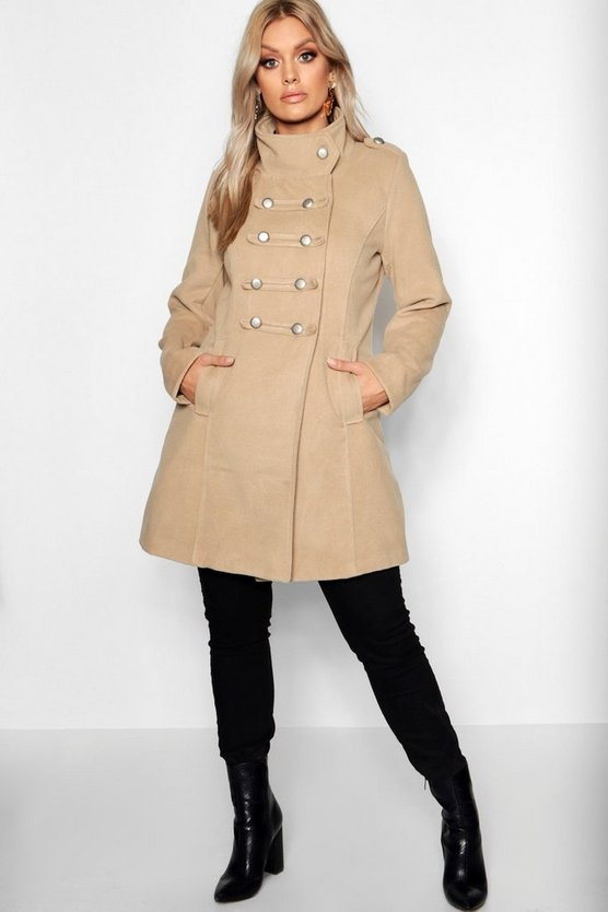 Plus Military Wool Look Coat