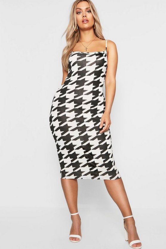 Plus Dogtooth Bodycon Midi Dress