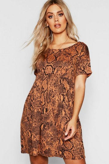 Womens Tan Plus Snake Print Smock Dress