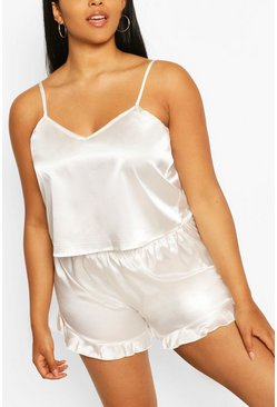 Ivory Plus Satin Ruffle Cami Pyjama Set