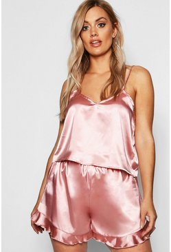 Rose Plus Satin Ruffle Cami Pyjama Set