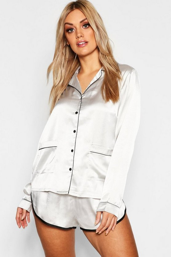 Womens Grey Plus Button Down Pyjama Shirt Set