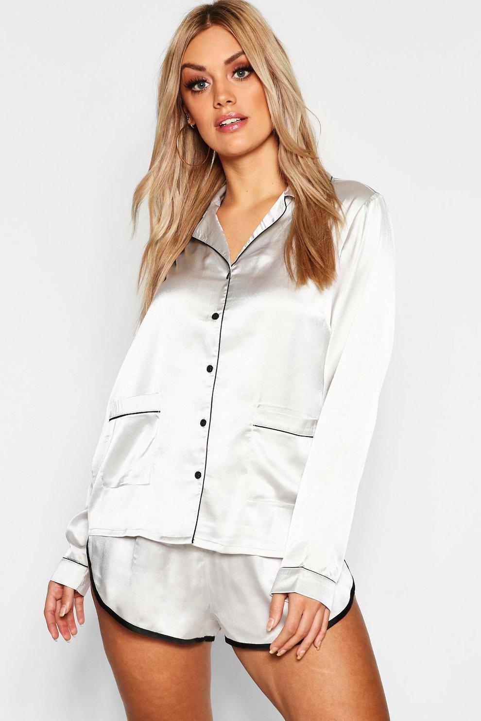 buy popular ab769 2cd07 Plus Pyjama Hemd Set mit Knopfleiste