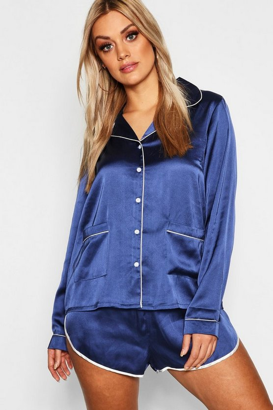 Plus Button Down Pajama Shirt Set