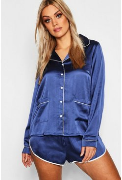 Womens Navy Plus Button Down Pyjama Shirt Set