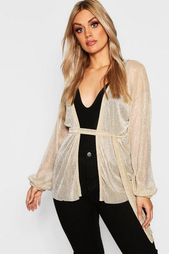 Womens Gold Plus Metallic Tie Wrap Top
