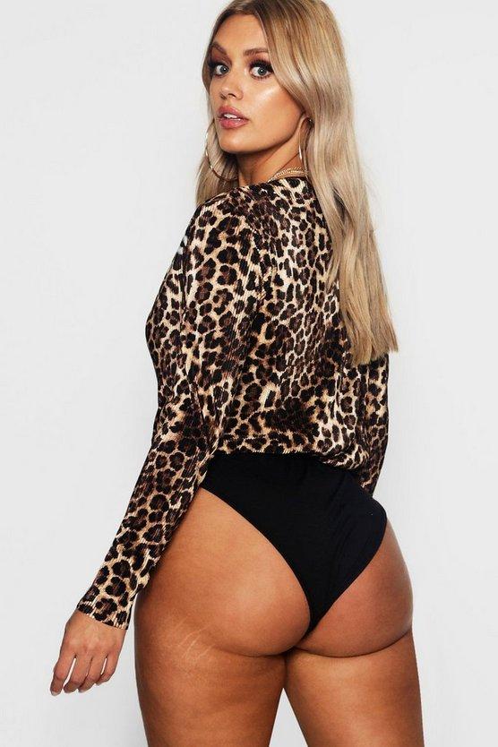 Plus Plisse Animal Print Wrap Bodysuit