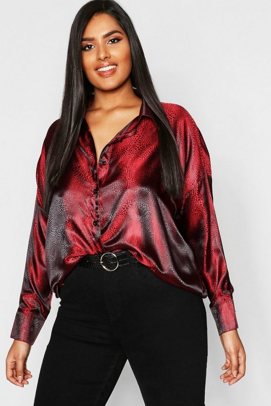 Plus Jaquard Leopard Satin Oversized Shirt