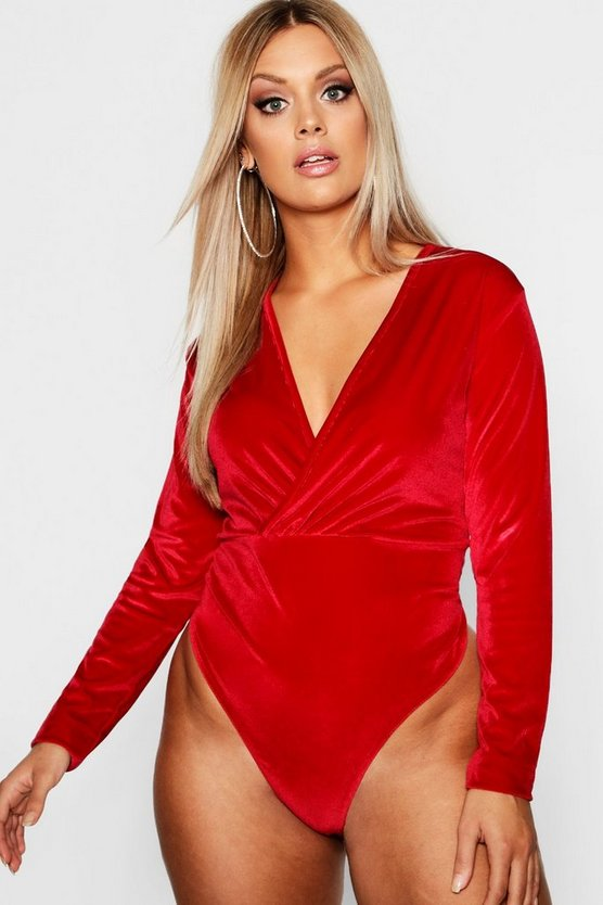 Plus Velvet Plunge Gathered Bodysuit