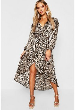 Womens Tan Gemma Collins Wrap Leopard Balloon Sleeve Midi Dress
