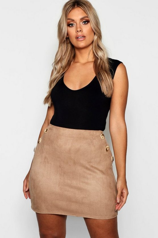 Plus Horn Button Suedette Skirt