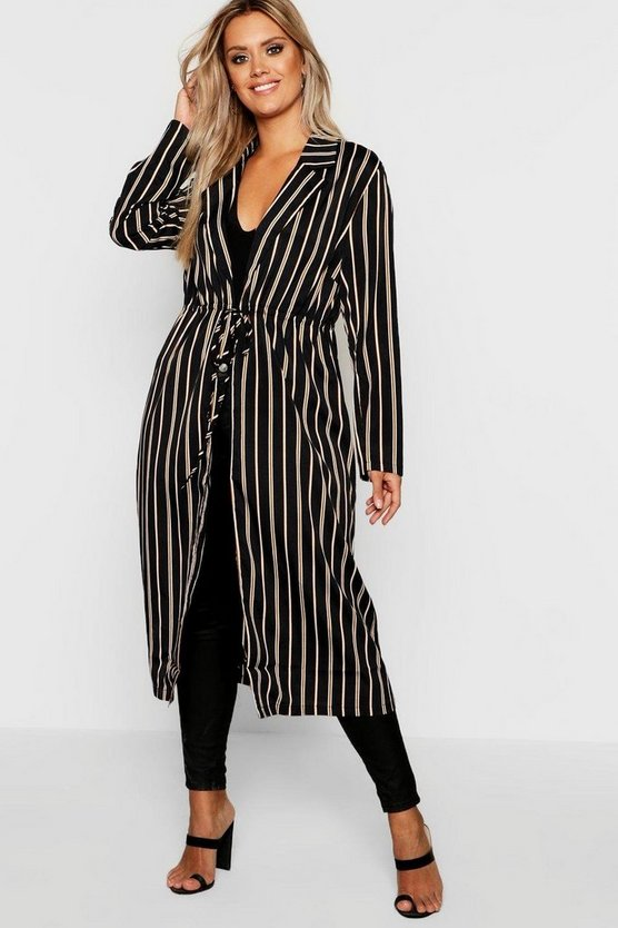 Plus Woven Stripe Tie Detail Duster