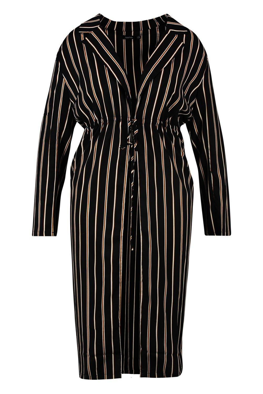 Stripe Woven black Detail Duster Plus Tie RpUqx1w7