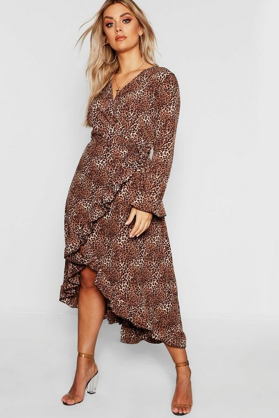 Plus Wrap Leopard Midi Dress