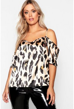 Womens Brown Plus Cold Shoulder Satin Leopard Top