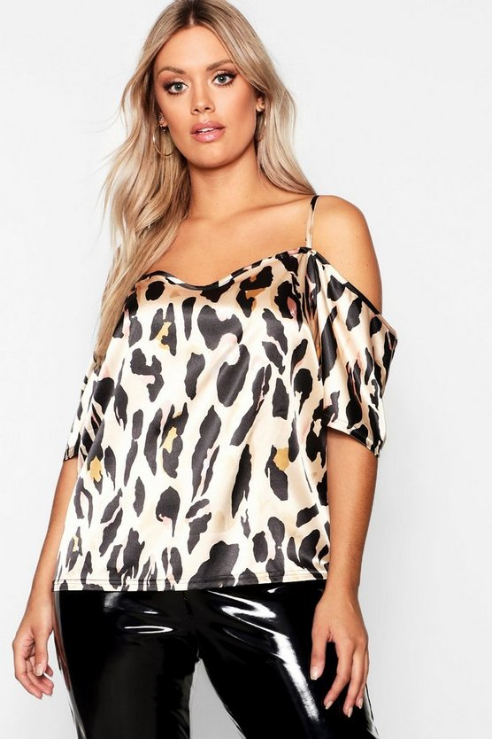 Plus Cold Shoulder Satin Leopard Top