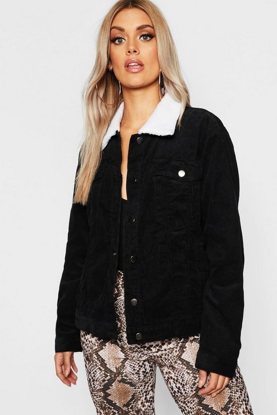 Womens Black Plus Oversized Cord Borg Collar Jacket
