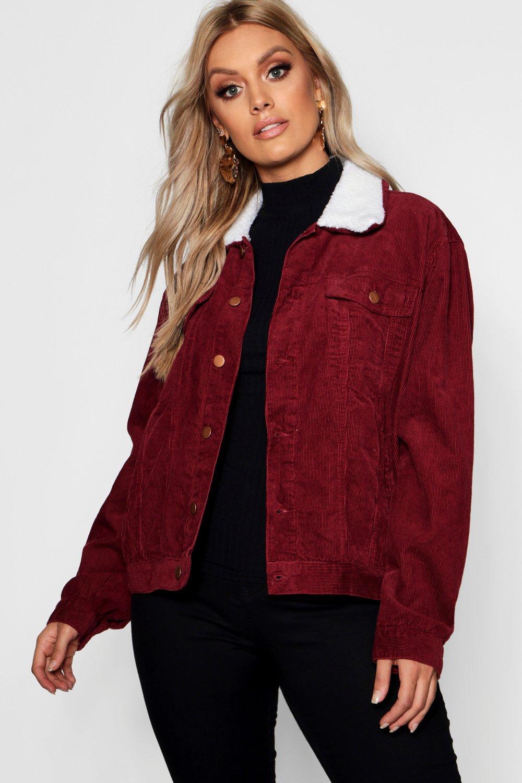 Plus Oversized Cord Borg Collar Jacket