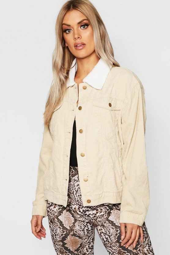 Plus Oversized Cord Borg Collar Jacket