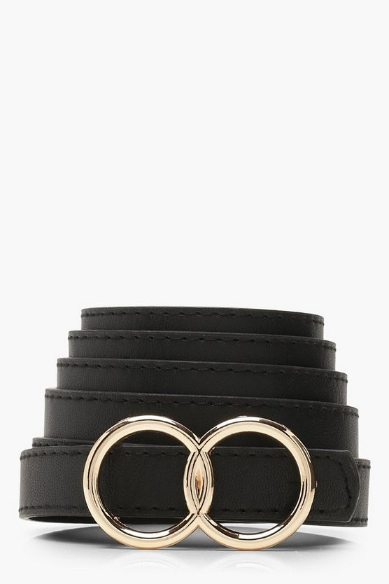 Womens Plus Double Ring Buckle Belt