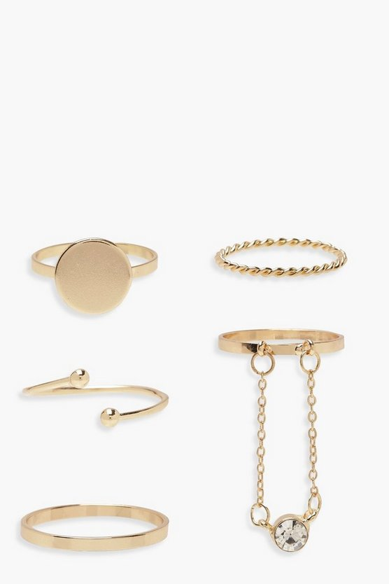 Womens Gold Plus Simple Band & Diamante Ring Pack