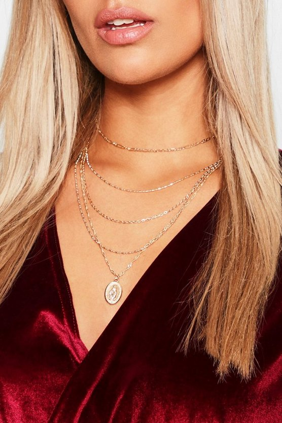 Plus Coin Pendant Layered Choker Necklace, Gold, Женские