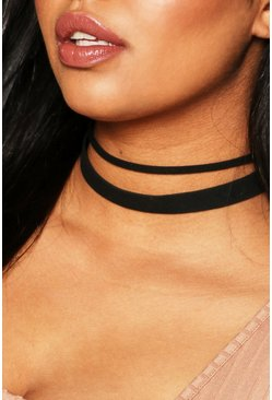 Womens Black Plus Small & Large PU Choker 2 Pack