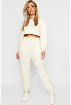 Womens Ecru Plus Oversized Basic Jogger