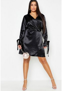 Womens Black Plus Wrap Split Sleeve Satin Dress