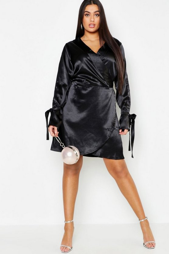 Plus Wrap Split Sleeve Satin Dress