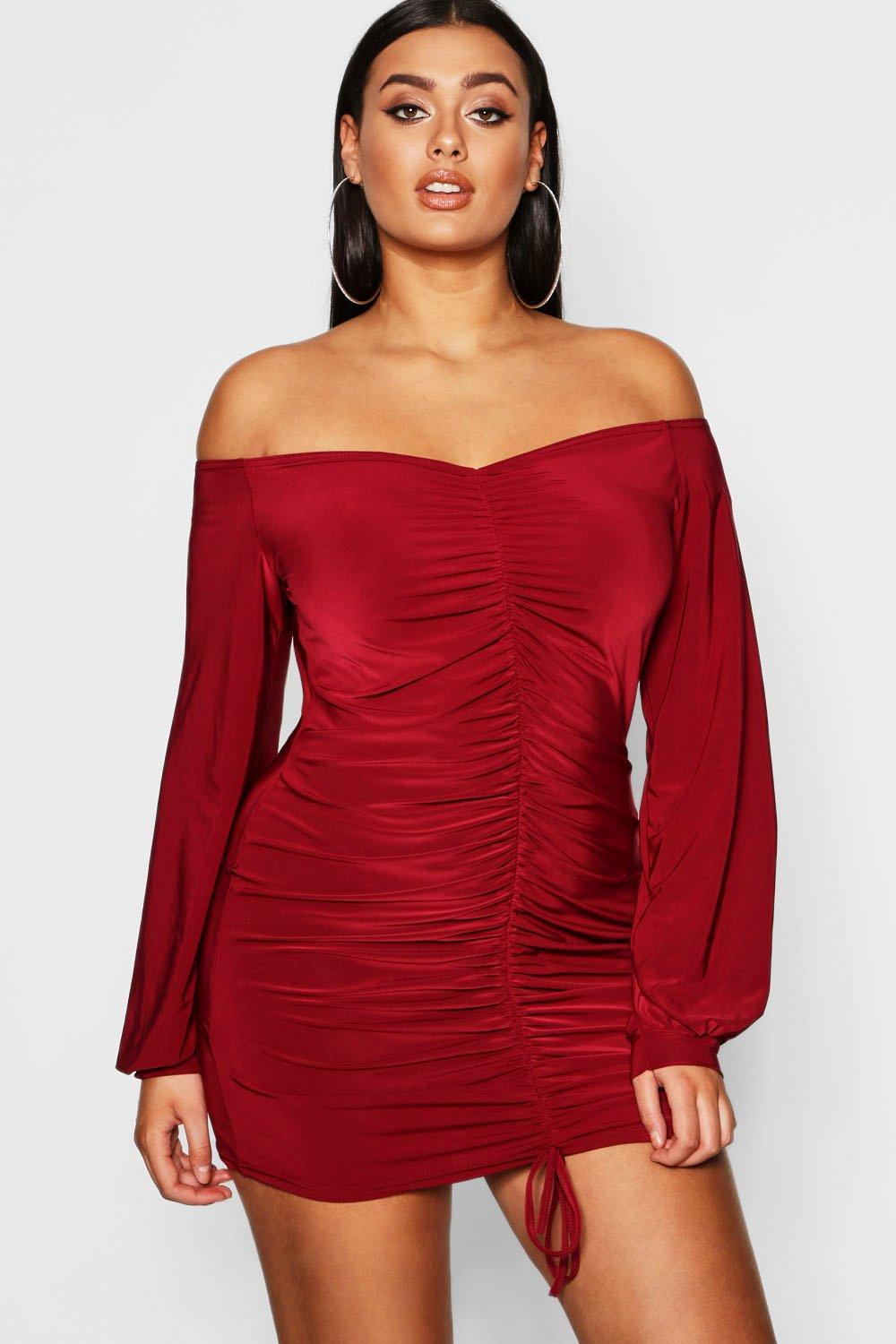 Plus Rouched Slinky Off The Shoulder Dress