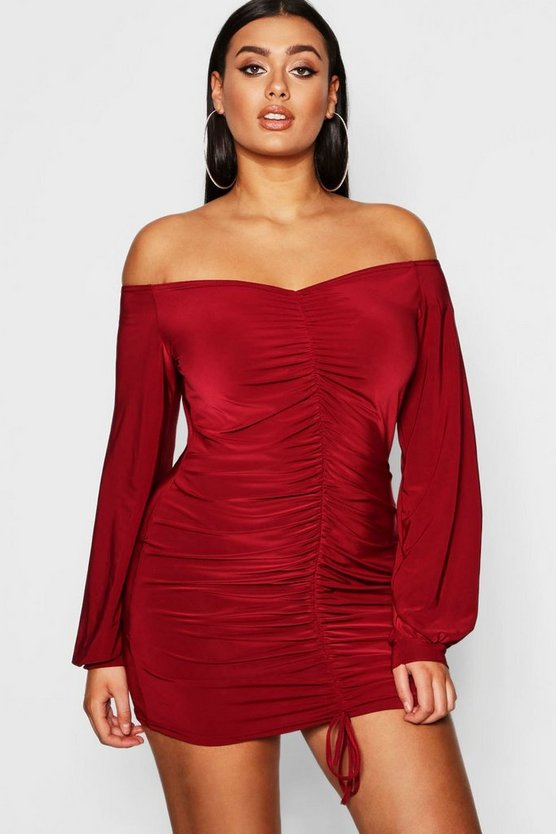 Womens Berry Plus Rouched Slinky Off The Shoulder Dress