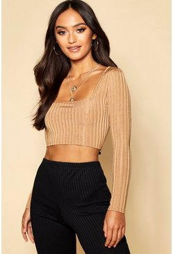 Womens Camel Petite Knitted Rib Slinky Square Neck Crop Top