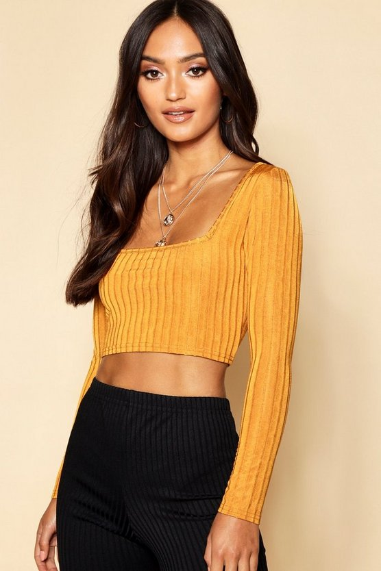 Womens Mustard Petite Knitted Rib Slinky Square Neck Crop Top