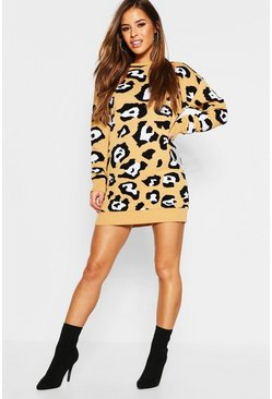 Womens Camel Petite Leopard Print Jumper Dress