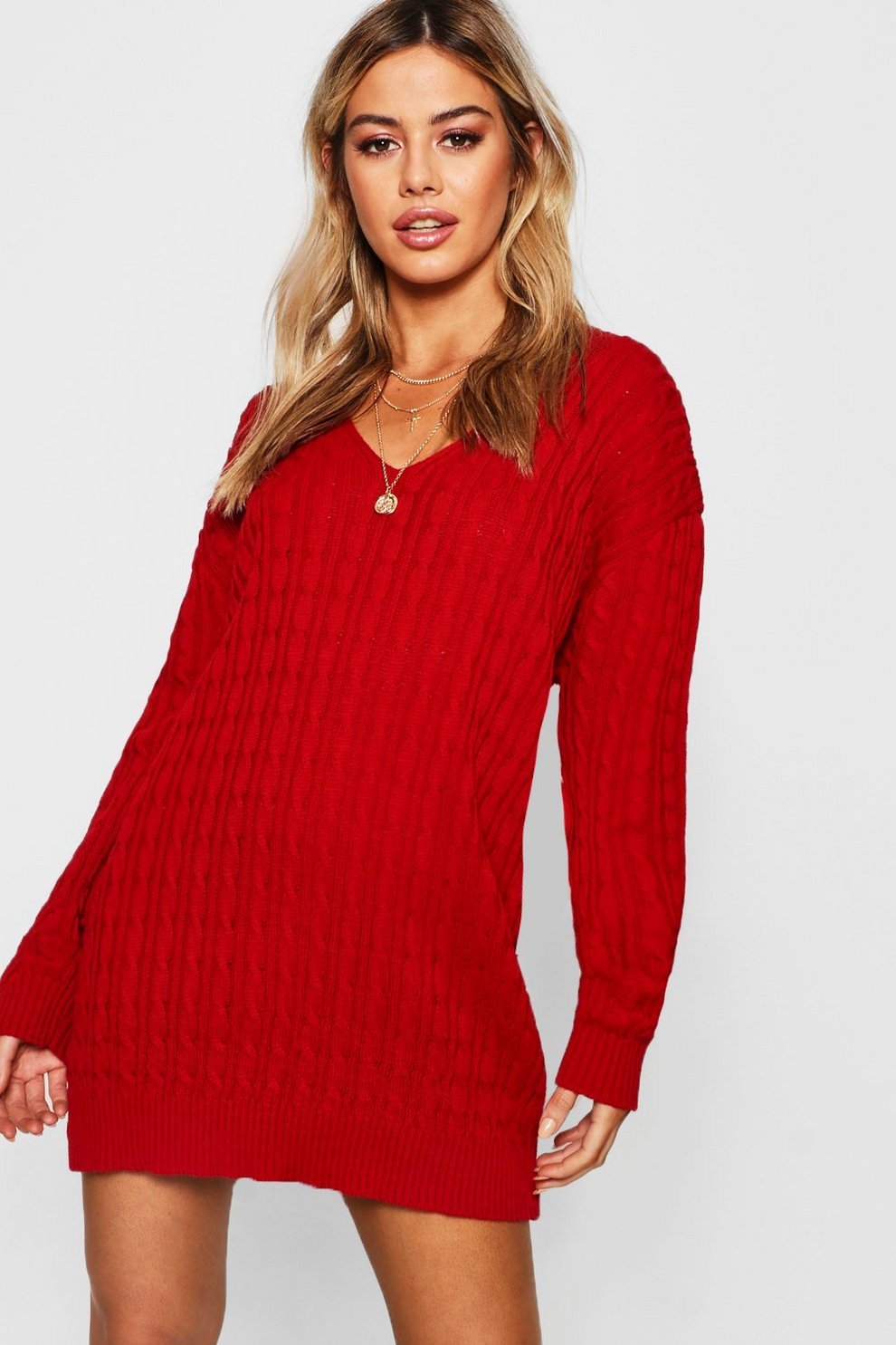 8a263d5d3f3 Petite Cable Knit V Neck Jumper Dress