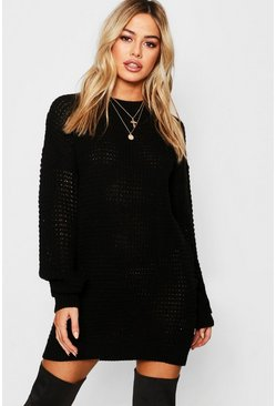 Womens Black Petite Waffle Knit Oversized Jumper Dress