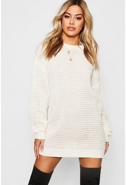 Cream Petite Waffle Knit Oversized Jumper Dress