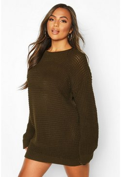 Khaki Petite Waffle Knit Oversized Jumper Dress