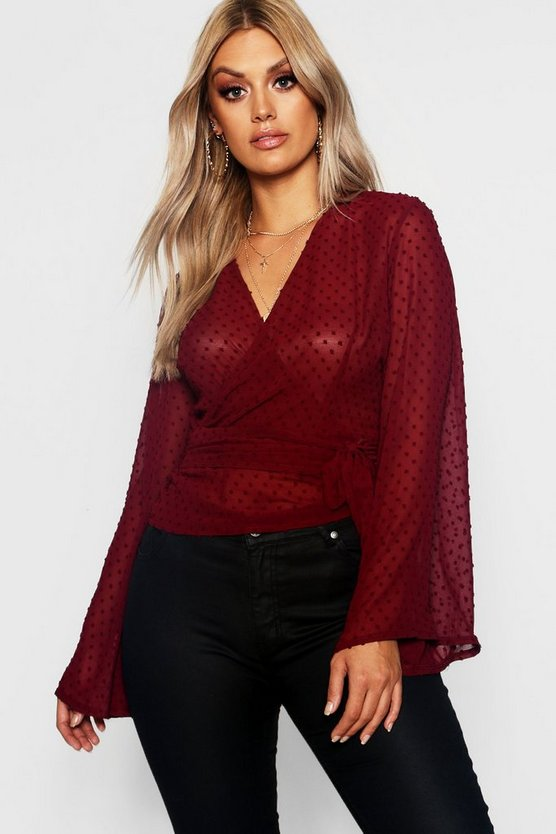 Womens Plus Dobby Mesh Wide Sleeve Wrap Top