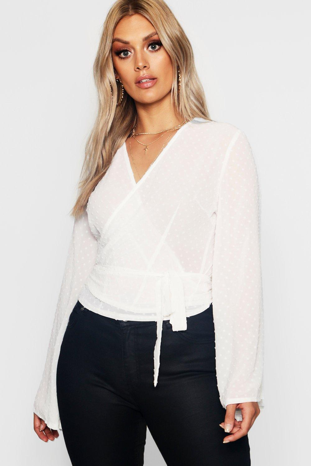 e69af23d0c9e61 Plus Dobby Mesh Wide Sleeve Wrap Top. Hover to zoom