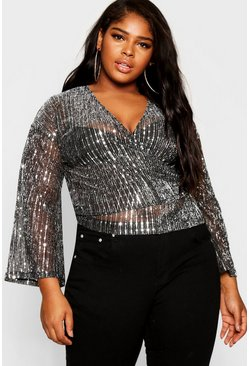 Womens Black Plus Kimono Sleeve Sequin Wrap Top
