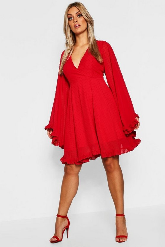 Plus Dobby Chiffon Wide Sleeve Skater Dress