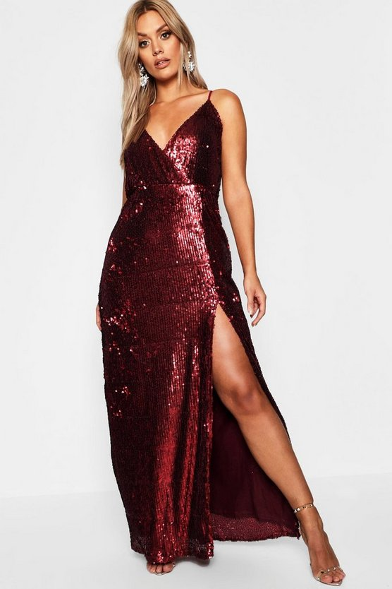 Womens Berry Plus Wrap High Split Sequin Maxi Dress