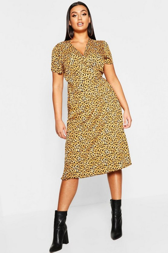 Brown Plus Leopard Print Wrap Midi Dress