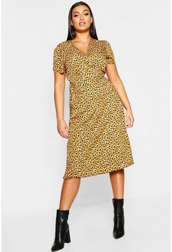 Womens Brown Plus Leopard Print Wrap Midi Dress