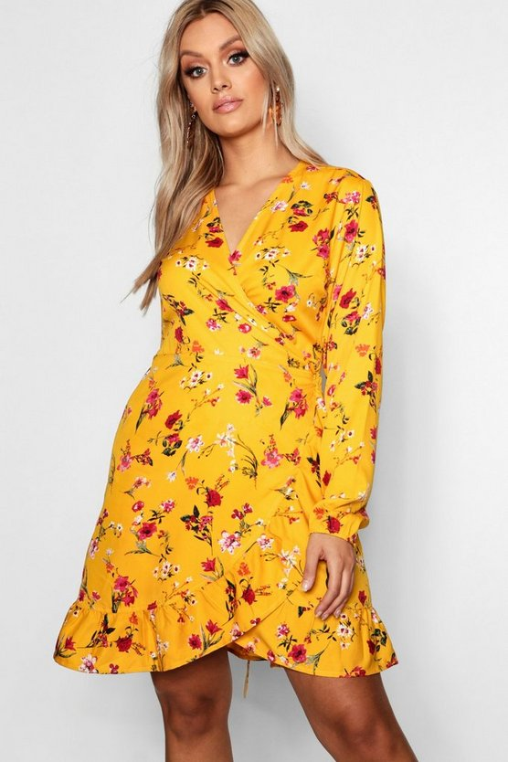 Womens Mustard Plus Floral Wrap & Ruffle Dress