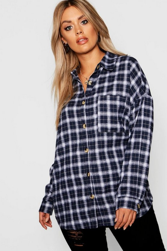 Plus Horn Button Check Oversized Shirt