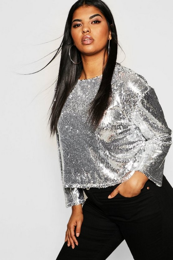 Plus Sequin Long Sleeve Top
