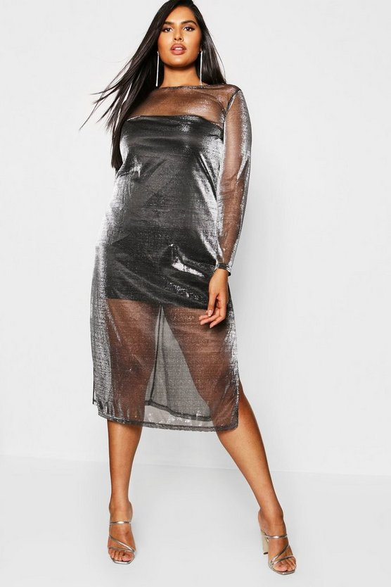 Womens Plus Metallic Split Side Midi Dress